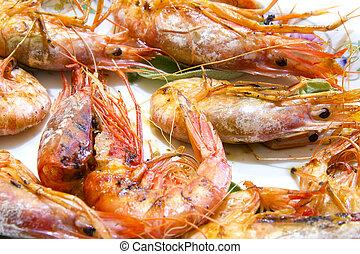 Prawns - Grilled prawns on ceramic plate and white ...