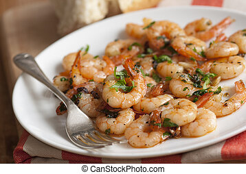 Prawns with garlic and sherry on a plate