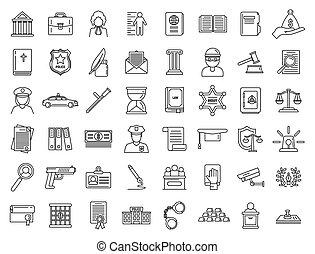 prawny, sprawiedliwość, komplet, styl, ikony, szkic