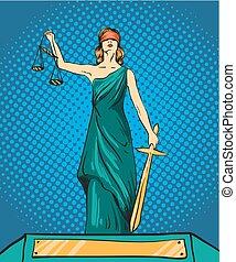 prawny, waga, prawo, wektor, sprawiedliwość, femida, bóg, pojęcie, komik, themis., style., sword., retro, hukiem, statua, ilustracja, sztuka