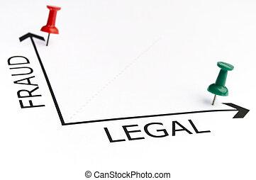 prawny, wykres, z, zielony, szpilka