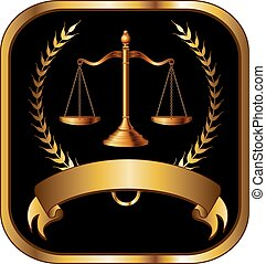 prawo, albo, prawnik, znak, złoty