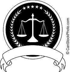 prawo, chorągiew, albo, prawnik, znak