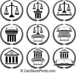 prawo, komplet, prawnik, znak, albo