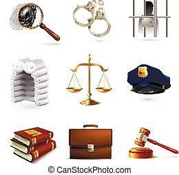 prawo, komplet, prawny, ikony