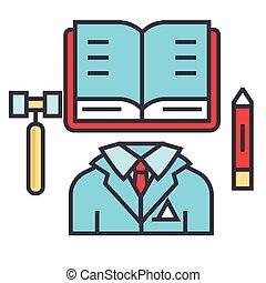 prawo, płaski, adwokat, icon., linearny, handlowy, sprawiedliwość, concept., biuro, editable, odizolowany, ilustracja, wektor, stroke., tło, biała lina, prawnik