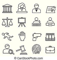 prawo, sprawiedliwość, komplet, prawny, ikona