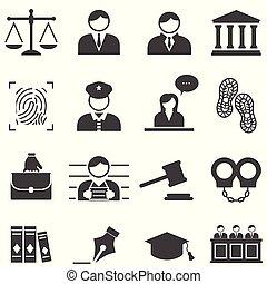 prawo, sprawiedliwość, prawny, ikony