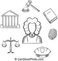 prawo, sprawiedliwość, sędzia, sketched, ikony