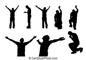 Silhouette of man praying and feel free with white background, concept for religion, worship, love and spirituality