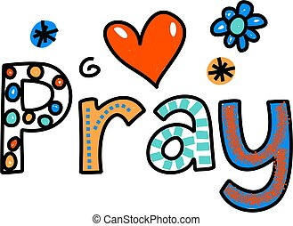 Pray Cartoon Text Expression - Hand drawn and colored ...