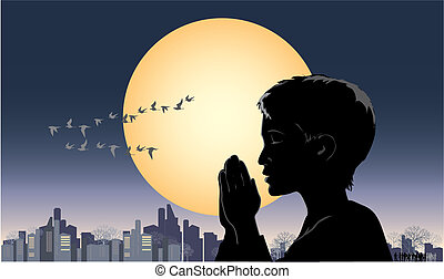 Pray - Vector illustration of a praying boy
