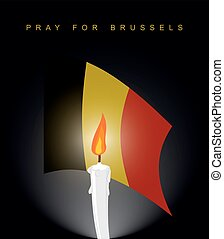 Pray for Brussels. Flag of Belgium. Mourning figure. Aattack in Belgium. Explosion in Brussels. White candle on black mourning background. Mourning Ribbon