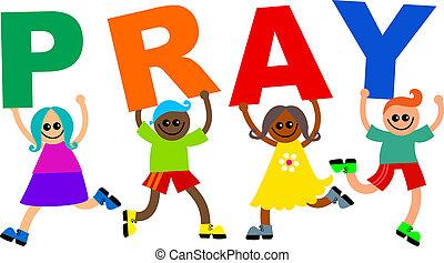 Pray Happy Diverse Kids Text