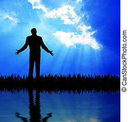 Pray - High resolution graphic of a man raising his arms...