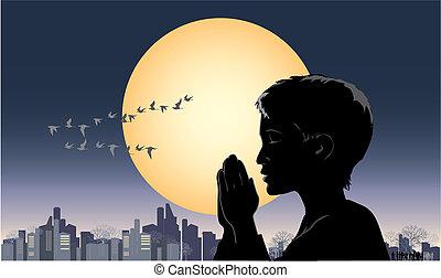 Pray - Vector illustration of a praying boy
