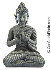 Pray with budha - Gray stone budha on a white background