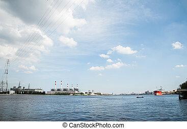 praya, 植物, 電気である, 大きい, chao, 精製所, パノラマである, ロジスティックである, 船, 川,...