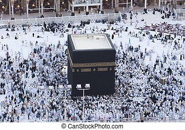 Prayer and Tawaf of Muslims Around AlKaaba in Mecca, Saudi Arabia