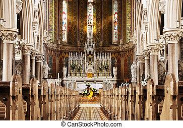 Prayer at beautiful Easter altar - Golden light of God -...