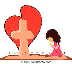 Prayer at the Cross - This is a vector of a little girl...