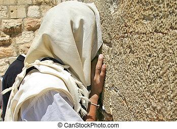 Prayer at Western Wall. Jerusalem, Israel.