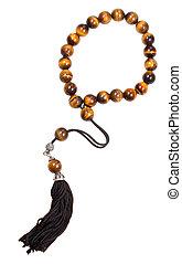 prayer bead isolated on white - tiger's-eye stone prayer...