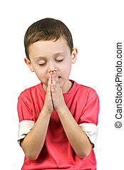 prayer - boy praying isolated on white