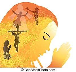 prayer-crucifixion, feltámadás