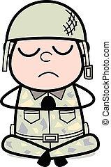 Prayer - Cute Army Man Cartoon Soldier Vector Illustration