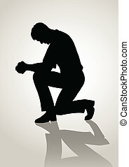 Prayer - Silhouette illustration of a man praying
