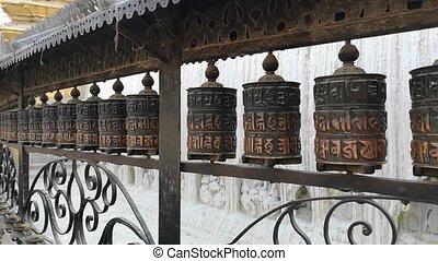 Prayer Drums In Swayambhunath or monkey temle. Kathmandu, ...