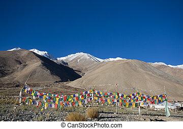 Prayer flag on highest highway Khardungla pass , Leh Ladakh