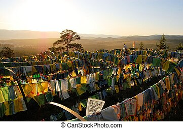 Prayer Flags at Ivolginsky Datsan temple, Ulan Ude, Russia -...
