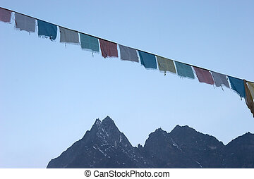 Prayer flags at sunrise, Everest region, Nepal