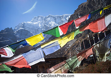 Prayer flags in the Himalaya mountains, Annapurna region, Nepal