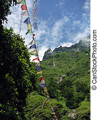 Prayer Flags in the Lower Annapurna Himalayas - Prayer flags...