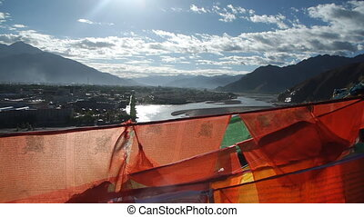 Prayer flags in the mountains