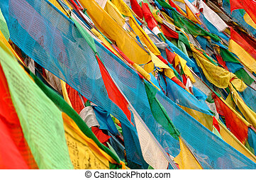 Prayer flags in Tibet - View of colorful buddhist prayer...