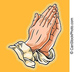 Prayer hand. Vector illustration