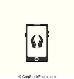 Prayer hands in smartphone screen icon.