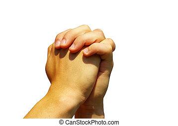 prayer hands - hands in prayer gesture on white
