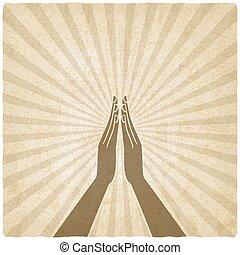 prayer hands symbol old background