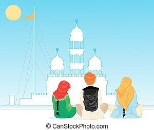 prayer in punjab - a vector illustration in eps 10 format of...