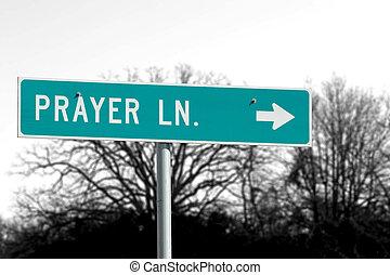 Prayer Lane Road - Sign for road called Prayer Lane