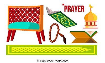 Prayer Muslim Items Vector. Koran, Rosary, Mosque. Isolated Flat Cartoon Illustration