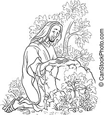 Agony in the garden. Jesus in Gethsemane scene. Night before the crucifixion