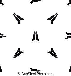 Prayer pattern seamless black