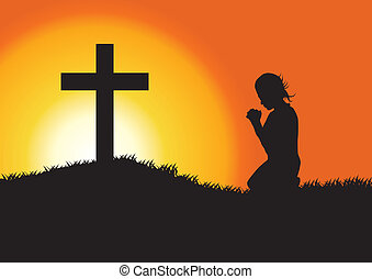 Prayer Silhouette - silhouette of a woman praying under the...