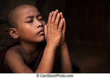 Prayer - Young little novice monk praying